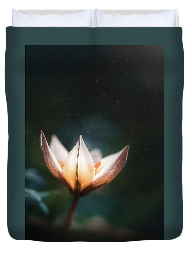 Flower Duvet Cover featuring the photograph Blossoming Light by Scott Norris