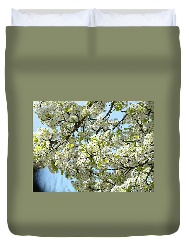 �blossoms Artwork� Duvet Cover featuring the photograph Blossoms Whtie Tree Blossoms 29 Nature Art Prints Spring Art by Baslee Troutman