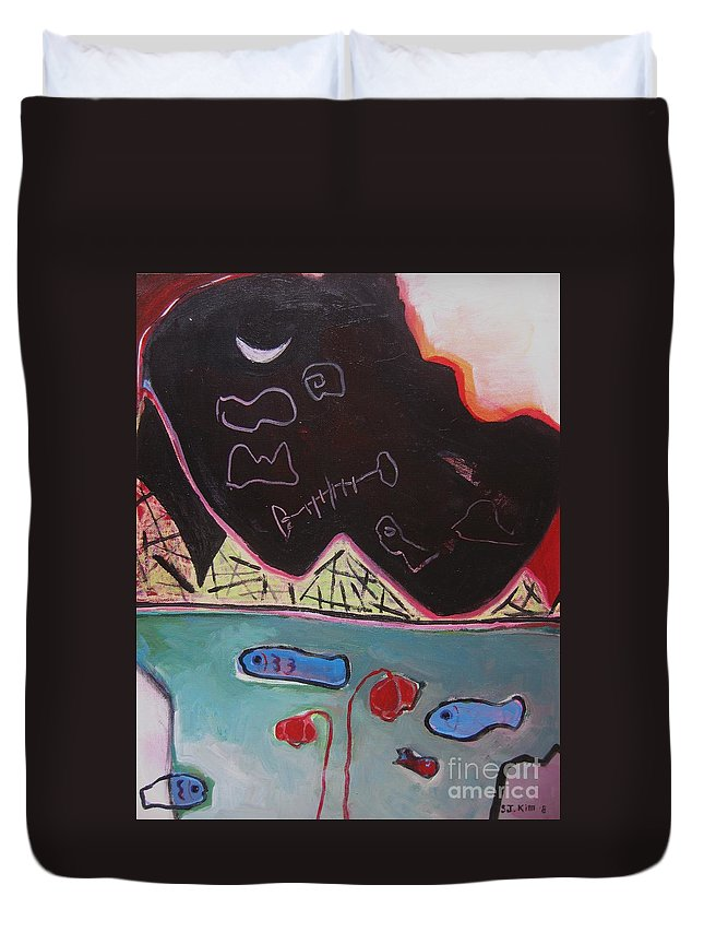 Blow Me Down Painting Duvet Cover featuring the painting Blow Me Down11 by Seon-Jeong Kim