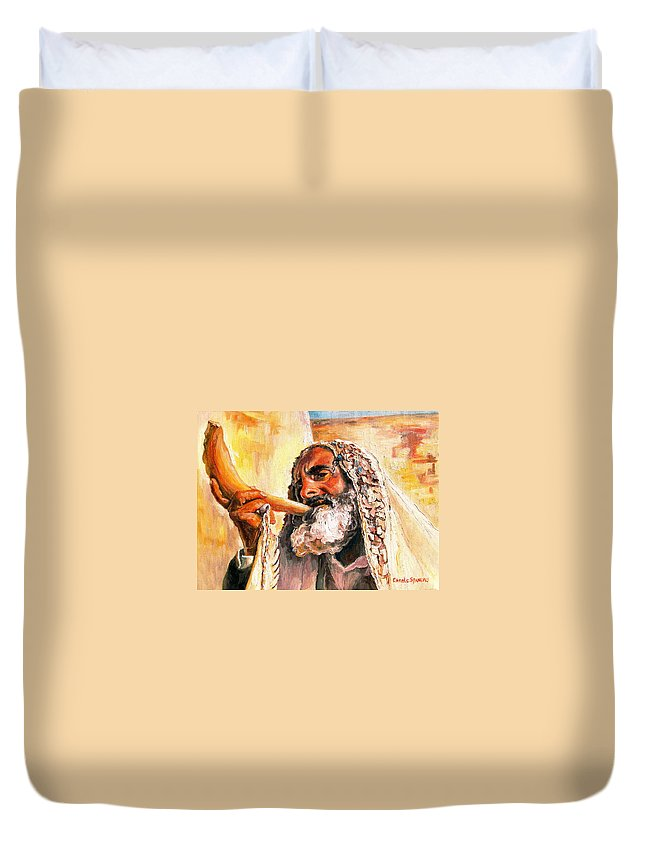 Rabbis Duvet Cover featuring the painting Blow The Trumpet In Zion by Carole Spandau