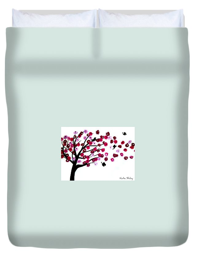 Cherry Blossom Duvet Cover featuring the painting Blowing Blossoms by Katie Slaby