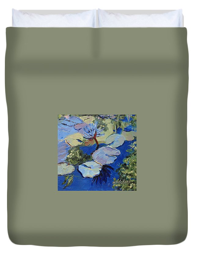 Lilies Duvet Cover featuring the painting Blu I by Barbara Andolsek