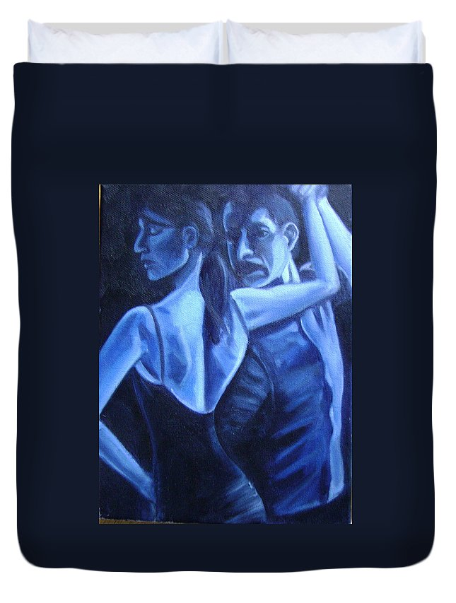 Duvet Cover featuring the painting Bludance by Toni Berry