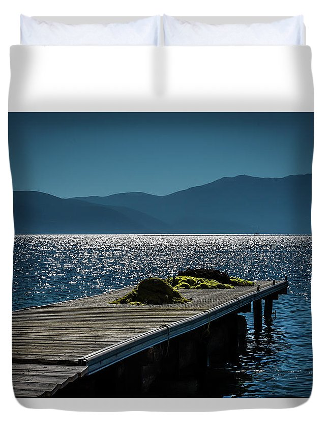 Seascape. Pier. Blue Sea. Duvet Cover featuring the photograph Blue 2 by Yau Ming Low