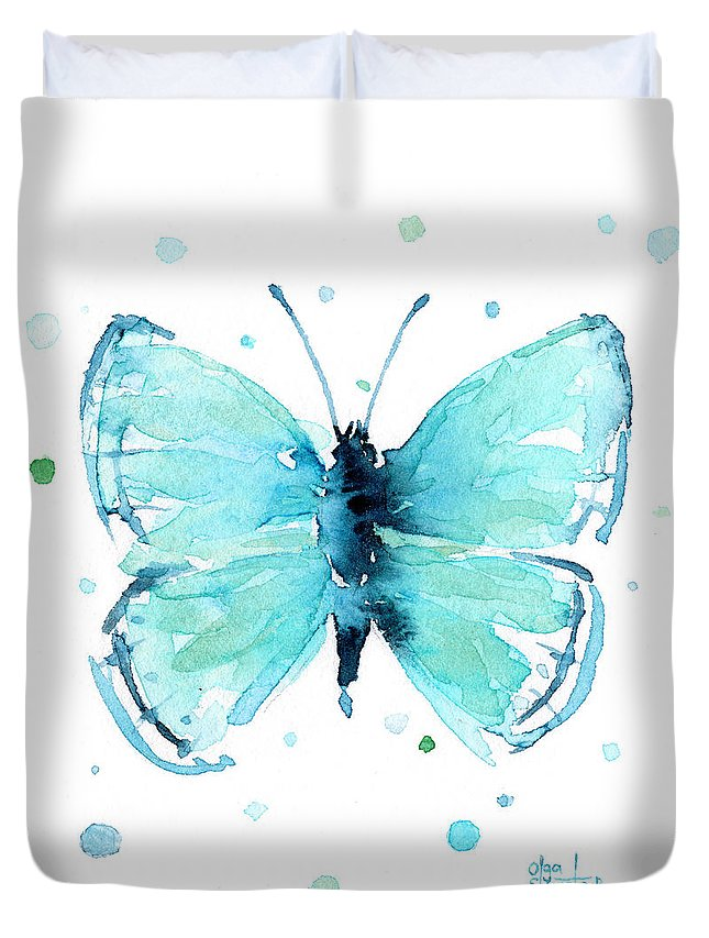 Watercolor Duvet Cover featuring the painting Blue Abstract Butterfly by Olga Shvartsur