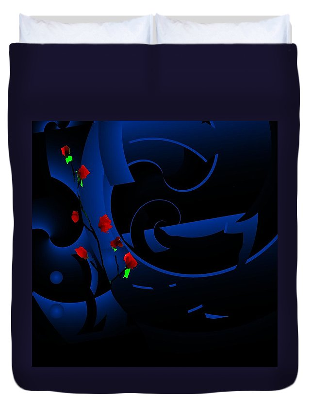Abstract Duvet Cover featuring the digital art Blue Abstract by David Lane