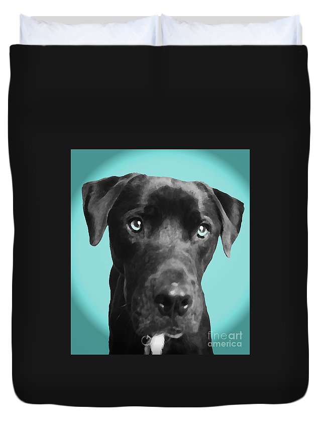dog Art Duvet Cover featuring the photograph Blue by Amanda Barcon