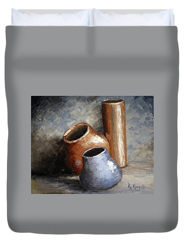 Roena King Duvet Cover featuring the painting Blue And Brown Pots by Roena King
