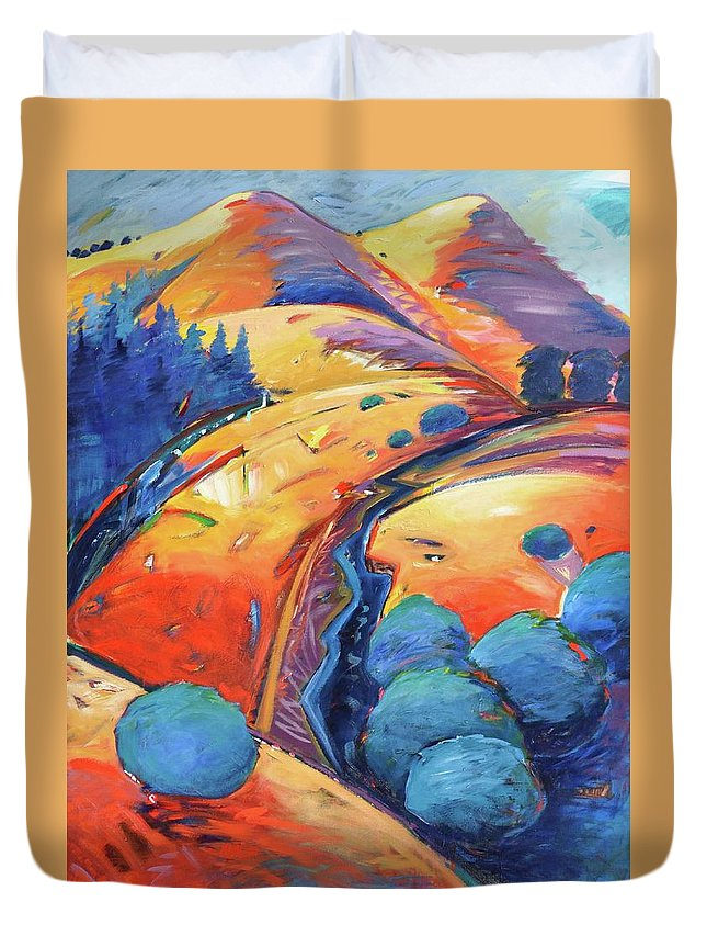Hills Duvet Cover featuring the painting Blue And Gold by Gary Coleman