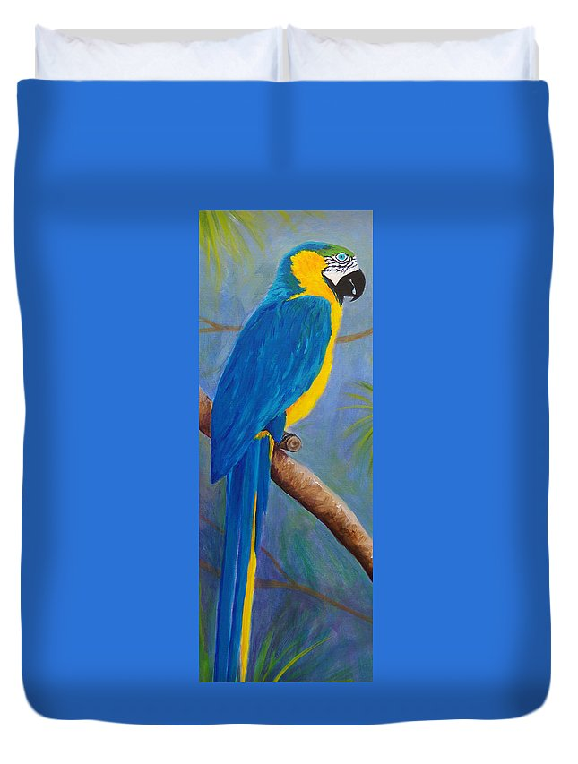 Macaw Duvet Cover featuring the painting Blue And Gold Macaw by Anne Marie Brown