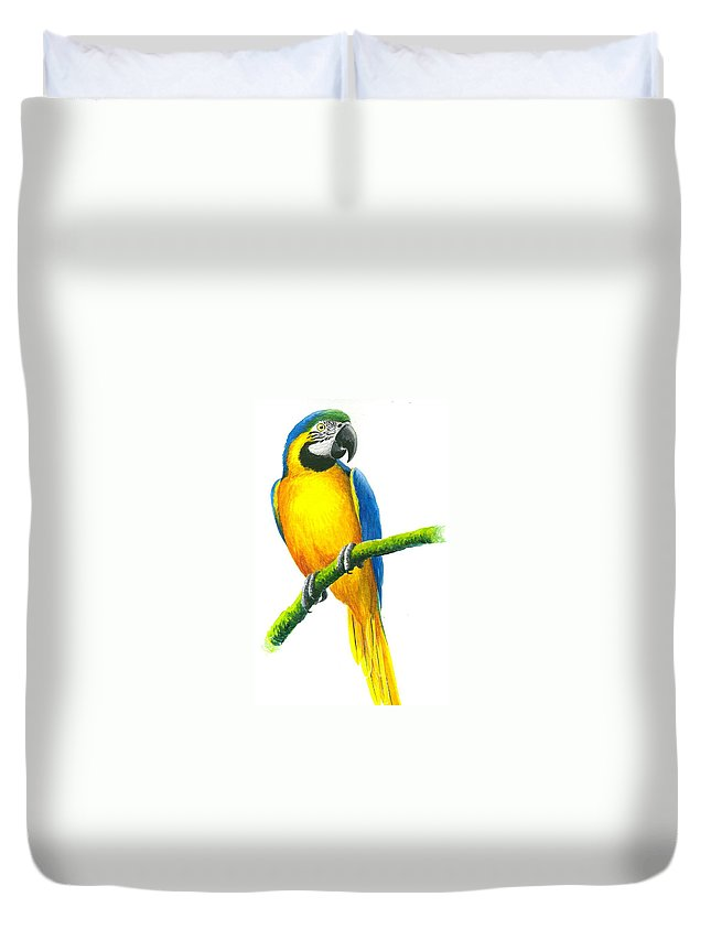 Chris Cox Duvet Cover featuring the painting Blue And Gold Macaw by Christopher Cox