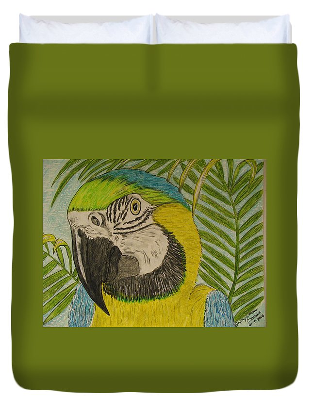 Macaw Duvet Cover featuring the painting Blue And Gold Macaw Parrot by Kathy Marrs Chandler
