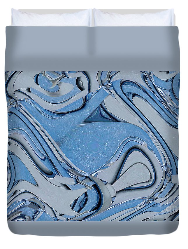 Digital Art Duvet Cover featuring the digital art Blue And Gray by Ron Bissett