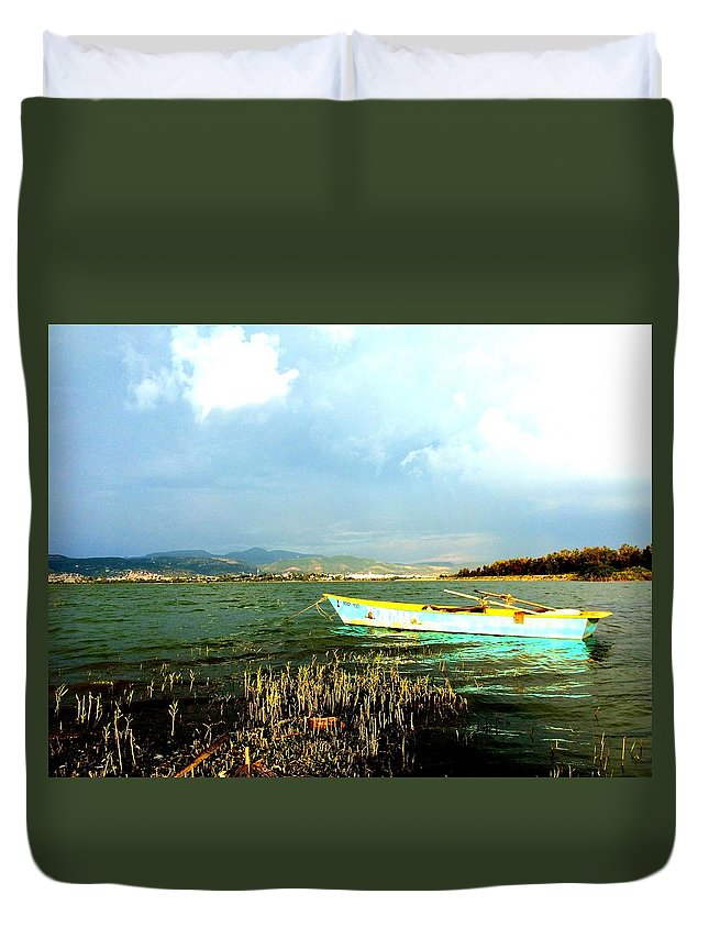 Landscape Duvet Cover featuring the photograph Blue And Green by Carina Garcia