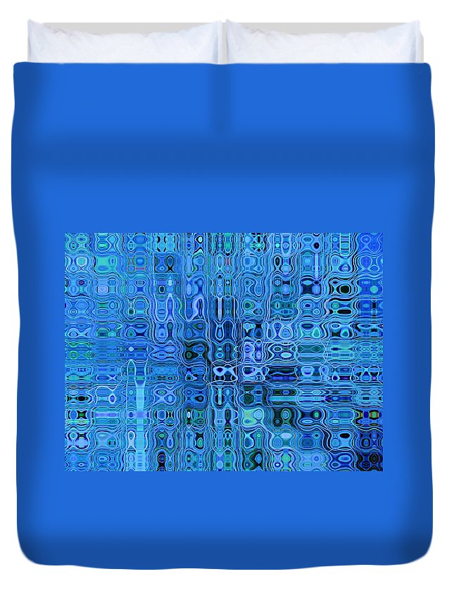Blue Duvet Cover featuring the photograph Blue And Green Quilt by Tom Reynen