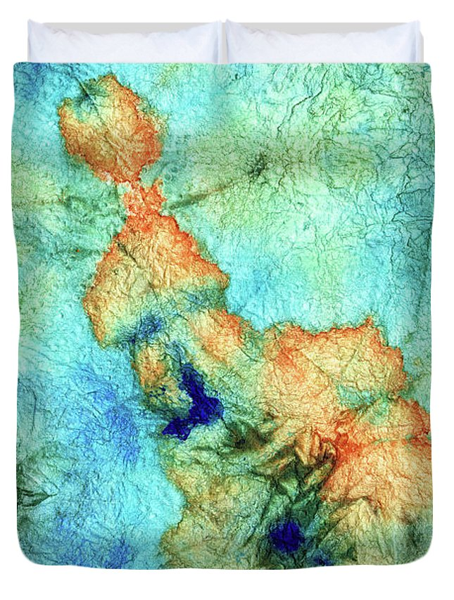 Teal Duvet Cover featuring the painting Blue And Orange Abstract - Time Dance - Sharon Cummings by Sharon Cummings