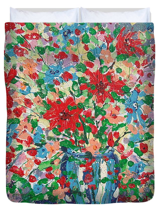 Painting Duvet Cover featuring the painting Blue And Red Flowers. by Leonard Holland