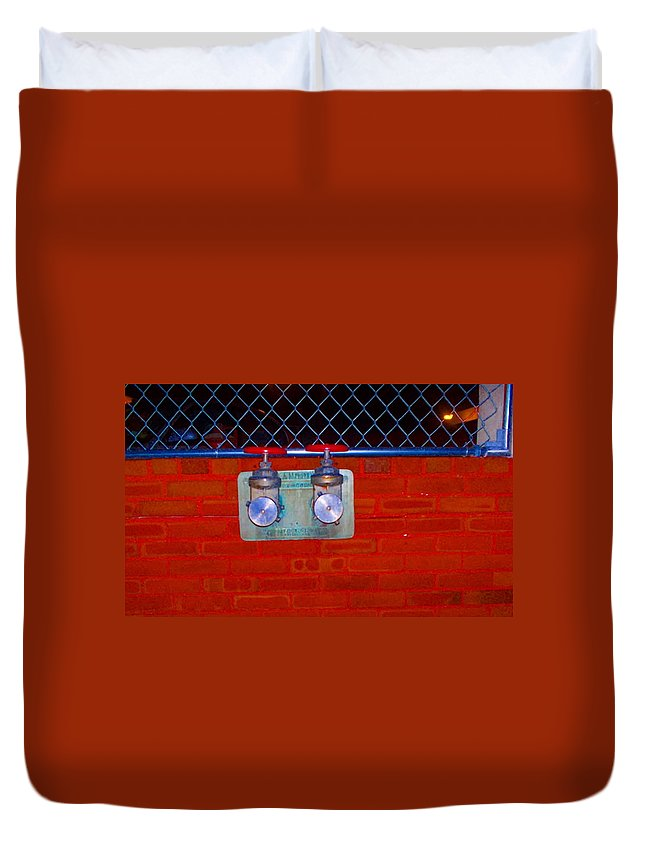 Color Photograph Duvet Cover featuring the photograph Blue And Red Pipe by Thomas Valentine