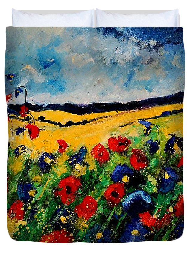 Poppies Duvet Cover featuring the painting Blue And Red Poppies 45 by Pol Ledent