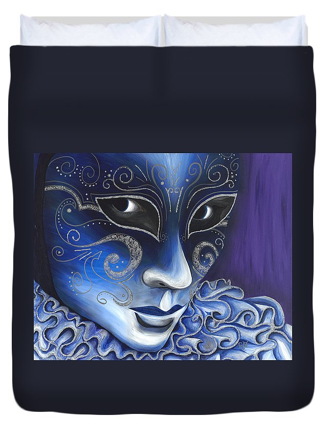 Psovart Duvet Cover featuring the painting Blue And Sliver Carnival Flair by Patty Vicknair