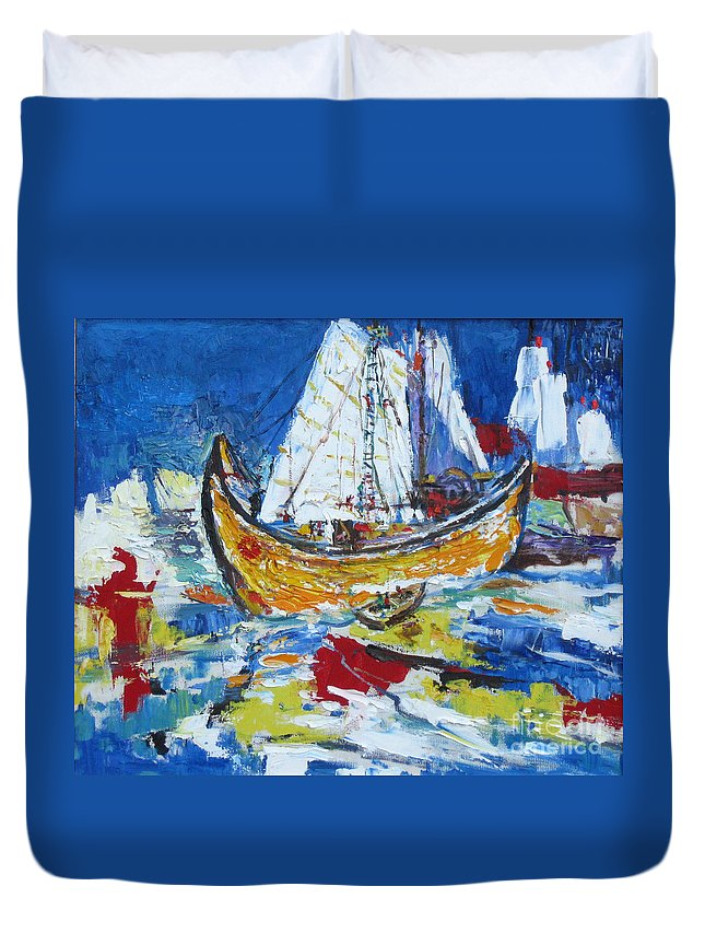 Boat Duvet Cover featuring the painting Blue And White by Guanyu Shi