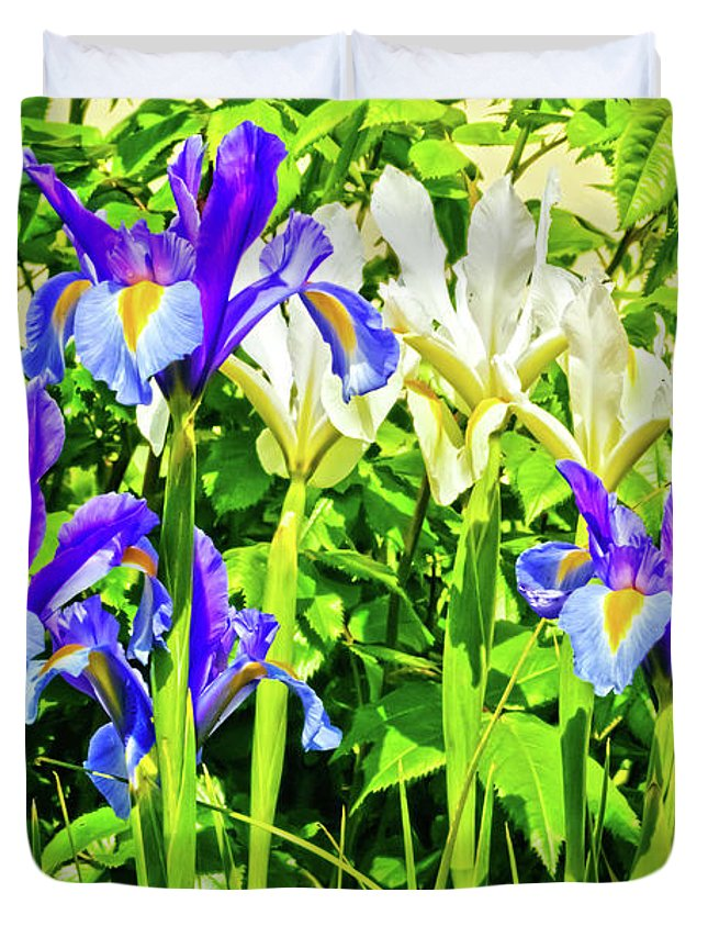 Flower Duvet Cover featuring the photograph Blue And White Iris by Terri Waters