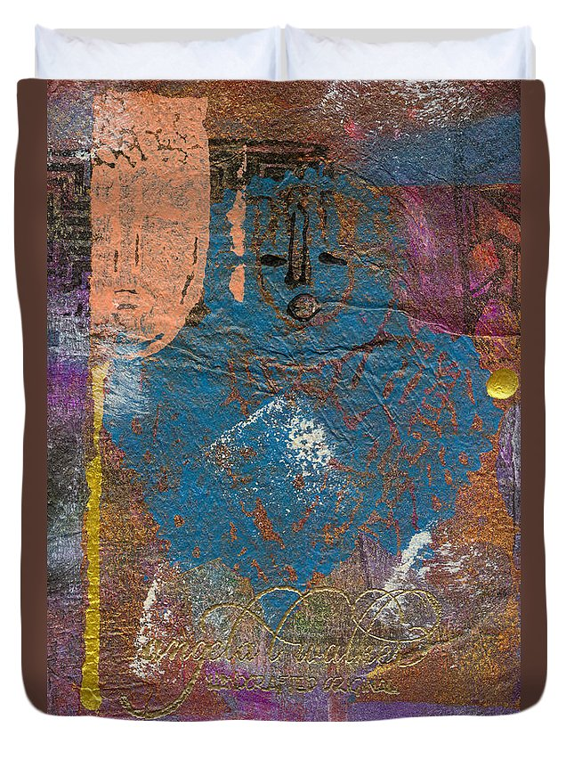Woman Duvet Cover featuring the mixed media Blue Angel Watches Over Me by Angela L Walker