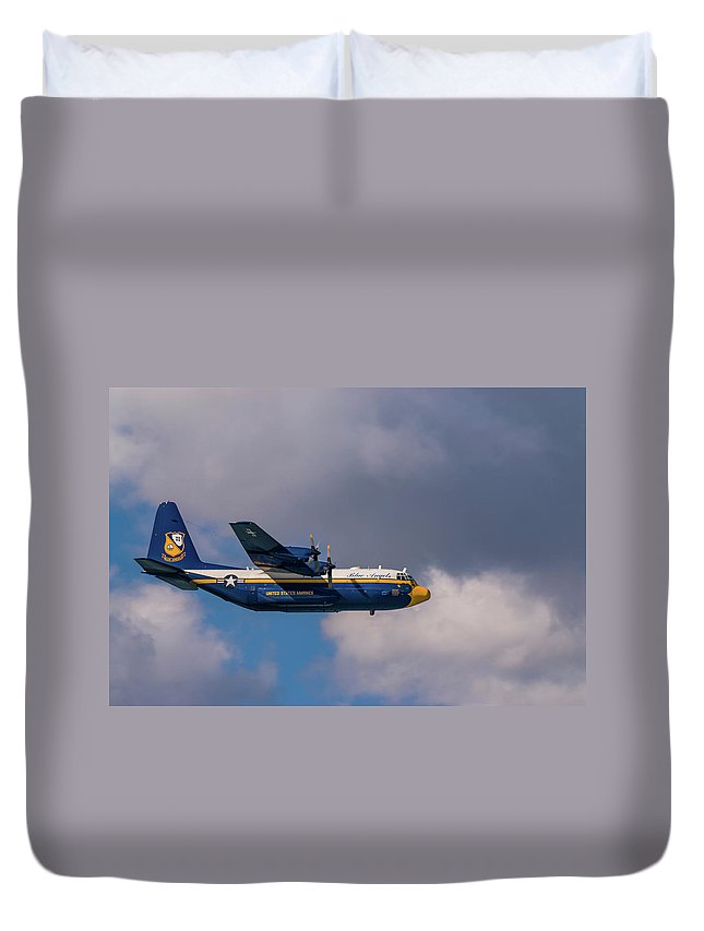 Blue Angels Duvet Cover featuring the pyrography Blue Angels, Fat Albert, C-130 by Javier Flores
