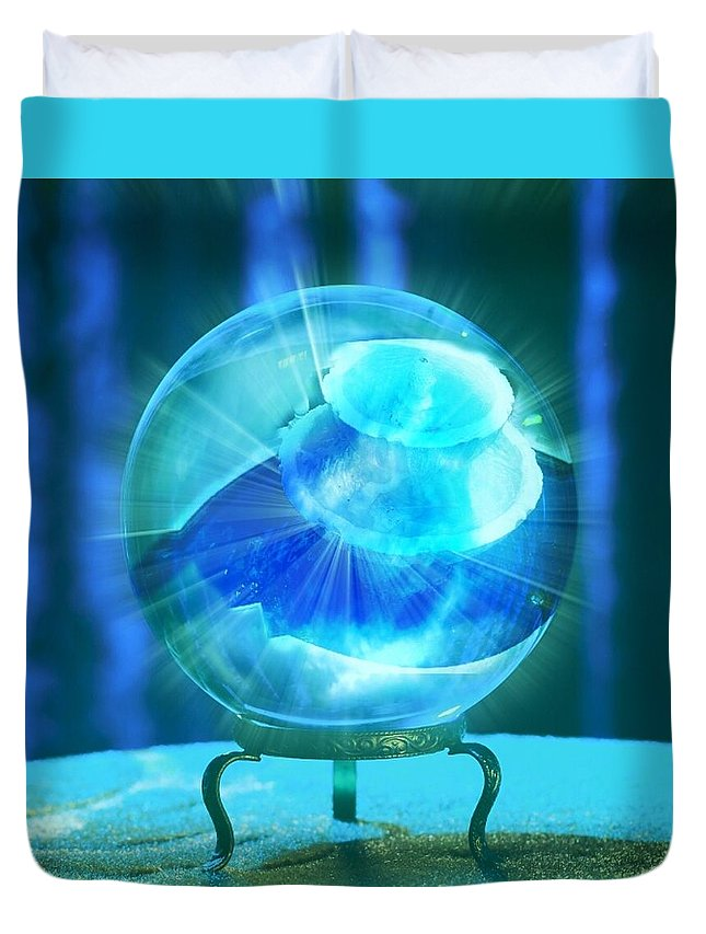 Crystal Ball Duvet Cover featuring the photograph Blue Ball by Rene GrayMitchell