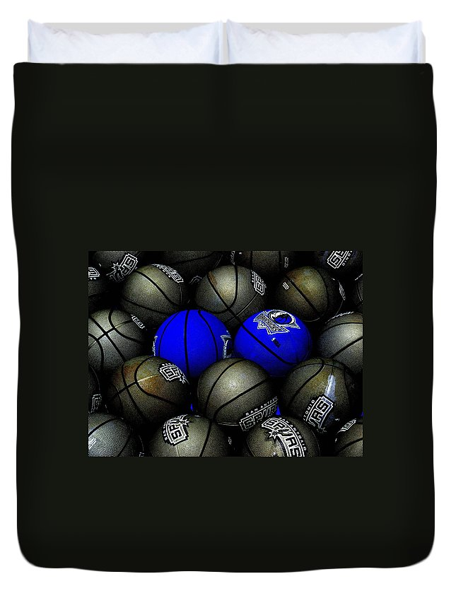 Basketball Duvet Cover featuring the photograph Blue Balls by Ed Smith