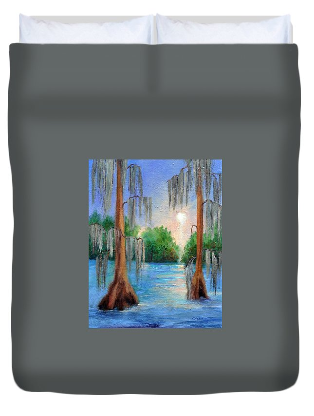 Bayou Landscape Duvet Cover featuring the painting Blue Bayou by Ginger Concepcion