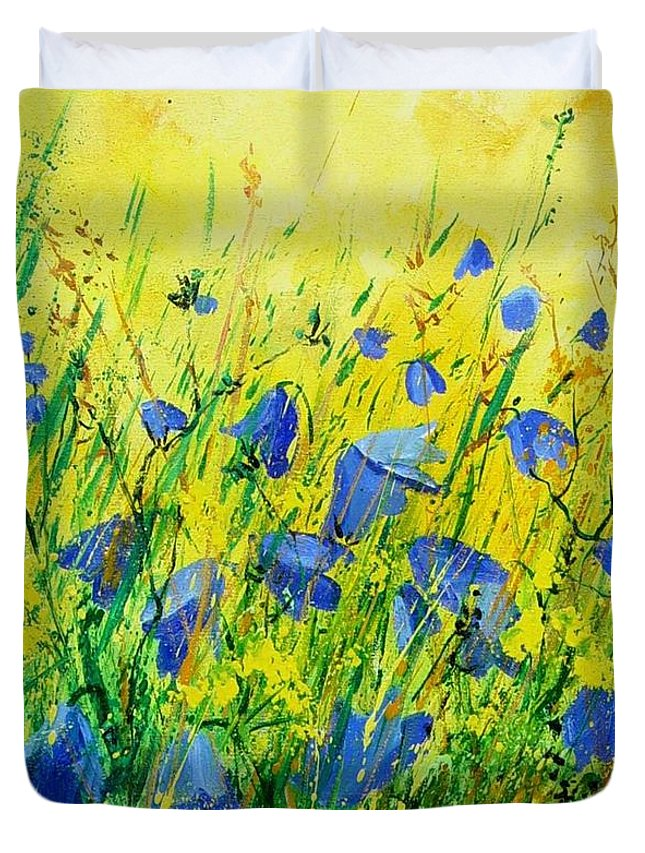 Poppies Duvet Cover featuring the painting Blue Bells by Pol Ledent