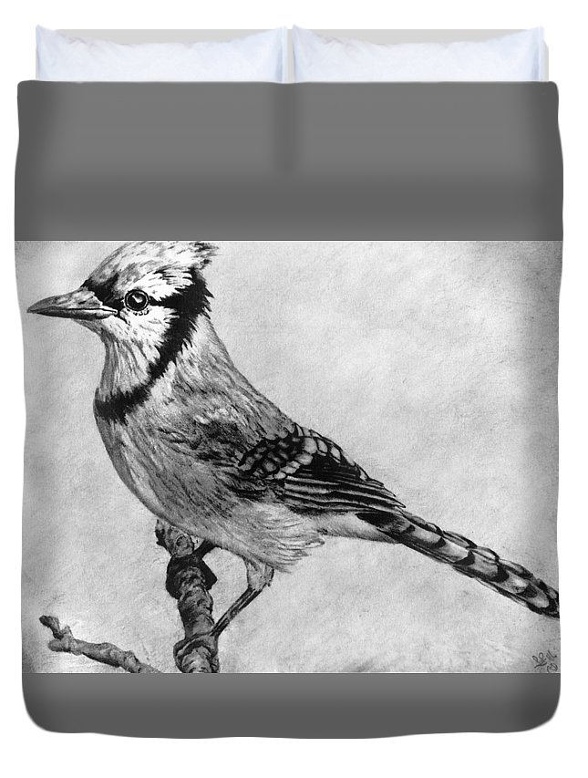 Blue Bird Duvet Cover featuring the drawing Blue Bird by Trey McCoy