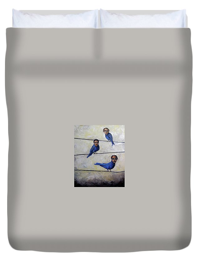 Birds Duvet Cover featuring the painting Blue Birds by Leah Saulnier The Painting Maniac