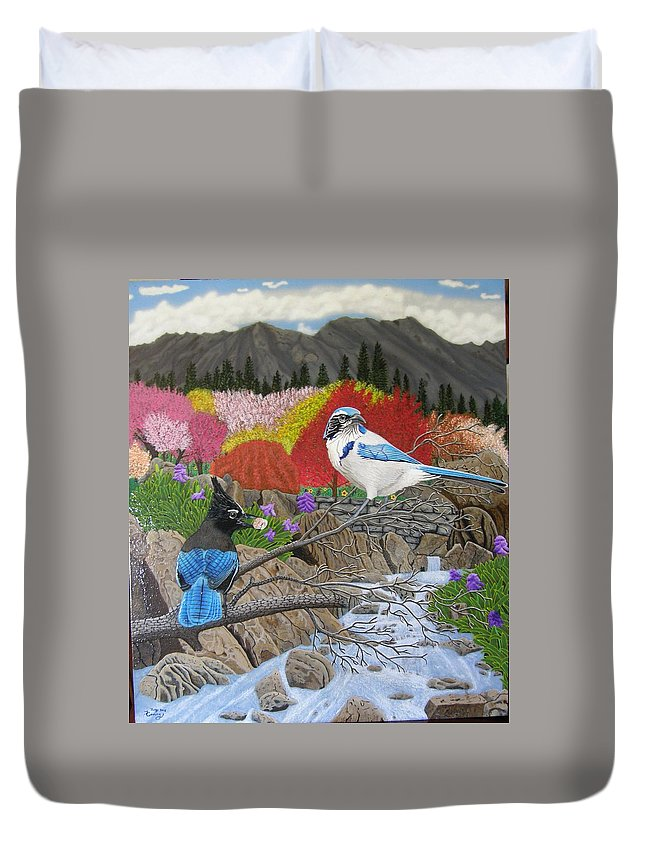 Birds Duvet Cover featuring the painting Blue Birds by Terry Cooley