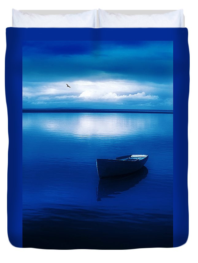 Boat Duvet Cover featuring the photograph Blue Blue Boat by Mal Bray
