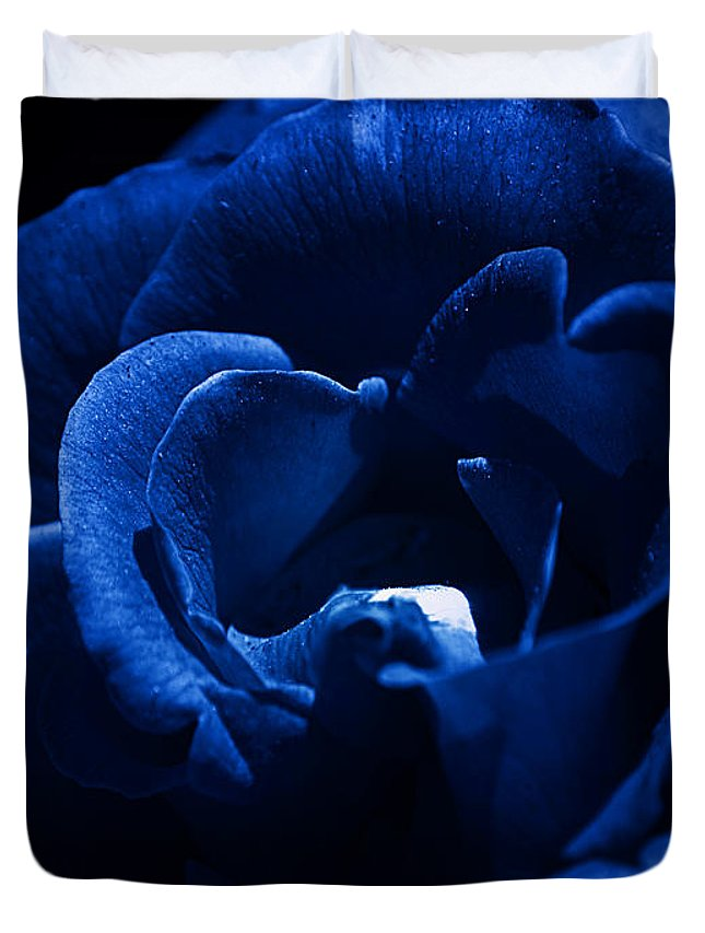 Clay Duvet Cover featuring the photograph Blue Blue Rose by Clayton Bruster