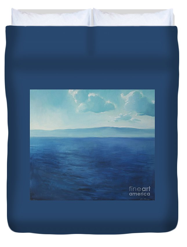 Lin Petershagen Duvet Cover featuring the painting Blue Blue Sky Over The Sea by Lin Petershagen