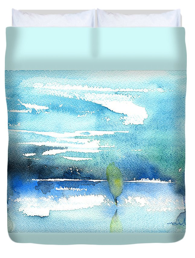 Impressionism Duvet Cover featuring the painting Blue Blue The World Is Blue by Miki De Goodaboom