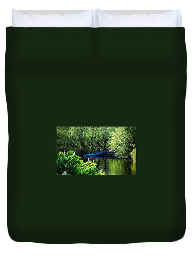 Irish Duvet Cover featuring the photograph Blue Boat Cong Ireland by Teresa Mucha