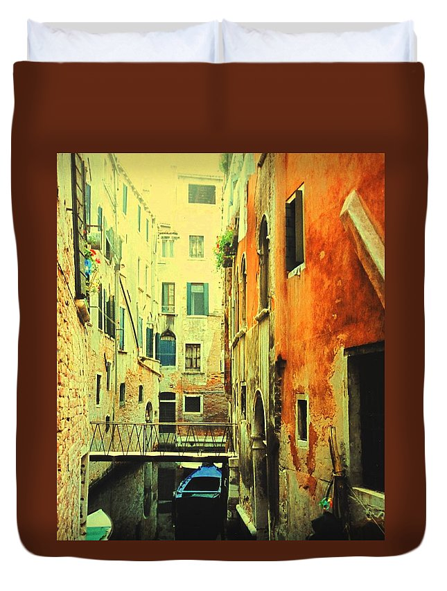 Venice Duvet Cover featuring the photograph Blue Boat In Venice by Ian MacDonald