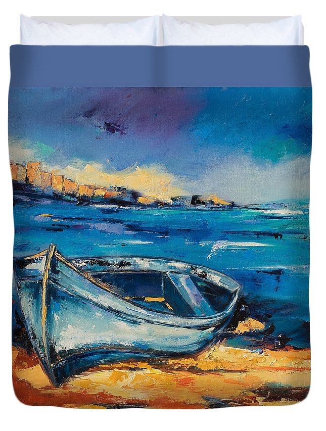 Boat Duvet Cover featuring the painting Blue Boat On The Mediterranean Beach by Elise Palmigiani