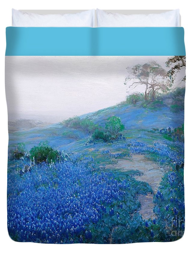 Pd: Reproduction Duvet Cover featuring the painting Blue Bonnet Field Early Morning by Pg Reproductions