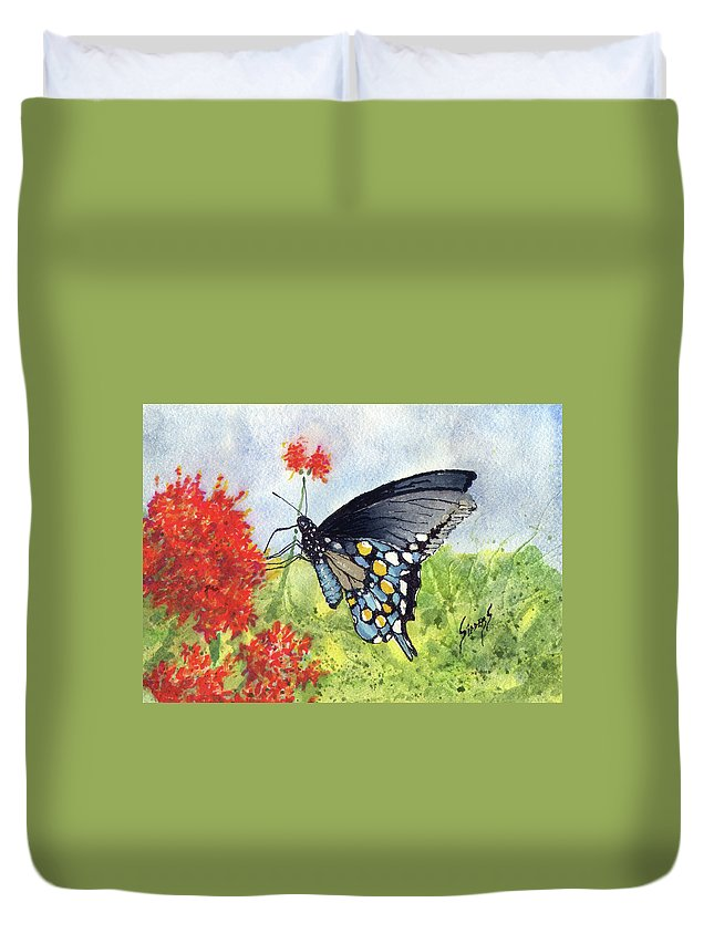 Flower Duvet Cover featuring the painting Blue Boy by Sam Sidders
