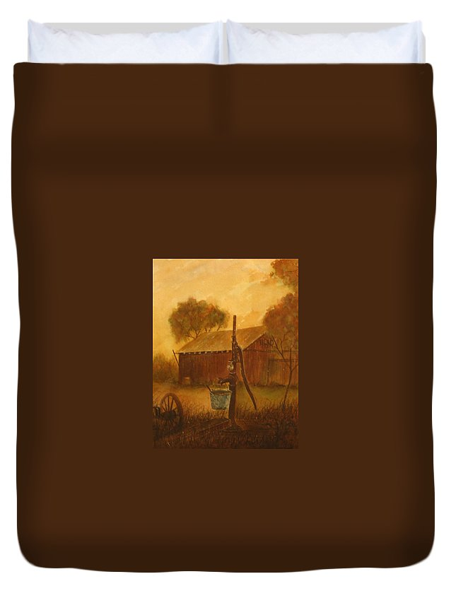 Barn; Bucket; Country Duvet Cover featuring the painting Blue Bucket by Ben Kiger