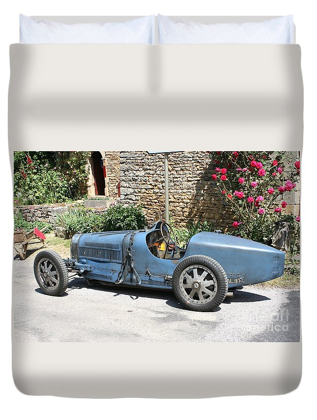 Oldtimer Duvet Cover featuring the photograph Blue Bugatti Oldtimer by Christiane Schulze Art And Photography
