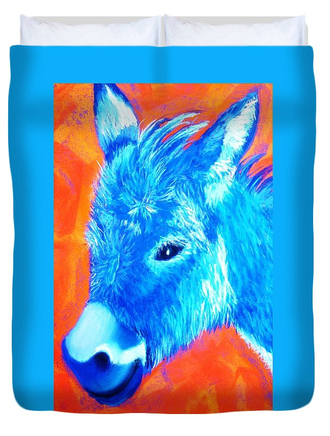 Burro Duvet Cover featuring the painting Blue Burrito by Melinda Etzold