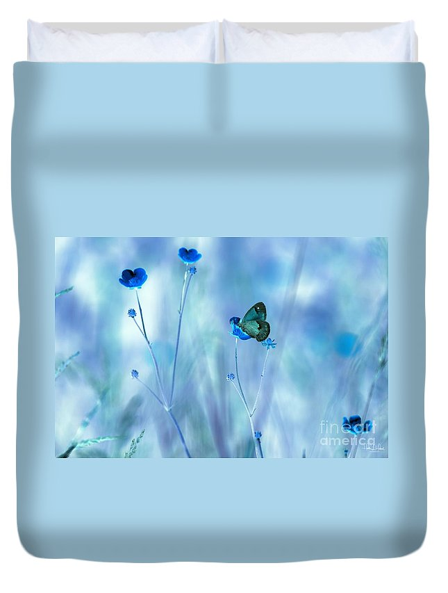 Flowers Duvet Cover featuring the photograph Blue Buttercups by Heather Hubbard