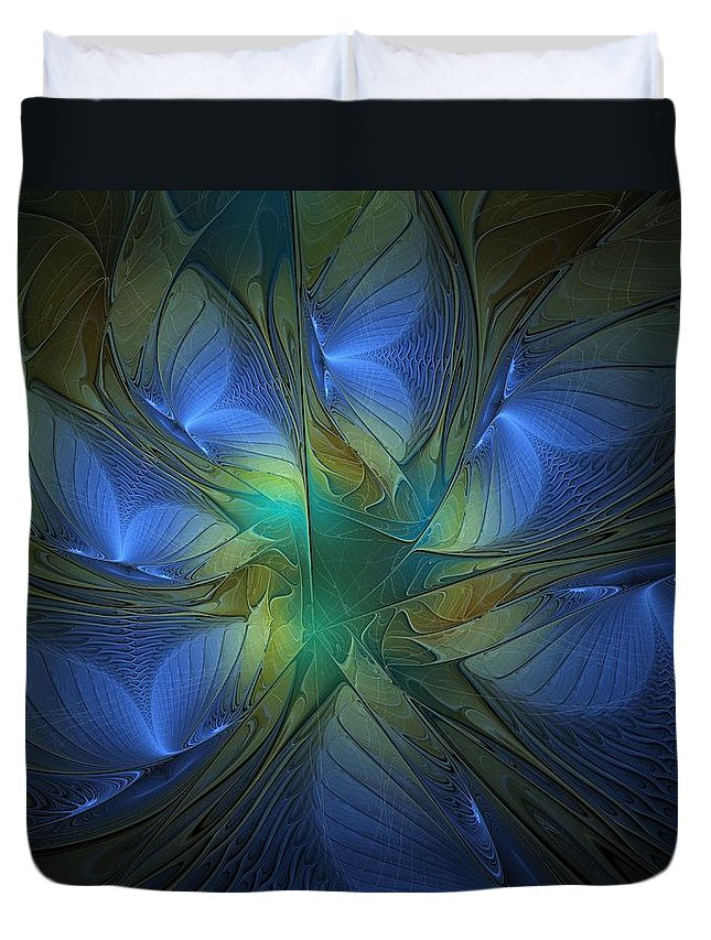 Digital Art Duvet Cover featuring the digital art Blue Butterflies by Amanda Moore