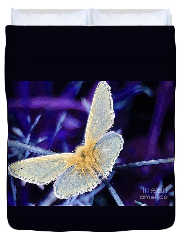 Butterfly Duvet Cover featuring the photograph Blue Butterfly by Callan Art
